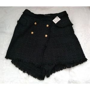 Zara Black Tweed Fringe Skirt Size Small NWT